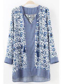Blue Floral Print Tie-Up Long Sleeve Dress - Royal Blue S
