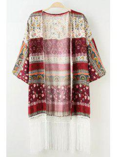 Color Block Tiny Floral Print Half Sleeve Kimono - L
