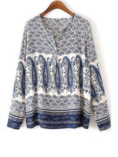 V Neck Paisley Print Long Sleeve Shirt - M
