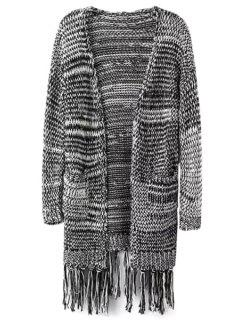Long Sleeve Color Block Stripe Cardigan - Gray M