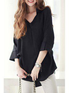 Long Sleeve Loose-Fitting Chiffon Shirt - Black S