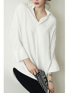 Long Sleeve Loose-Fitting Chiffon Shirt - White L