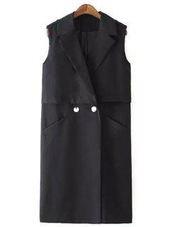 Solid Color Two Buttons Sleeveless Trench Coat - Black S