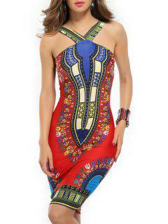 Vintage Print V Neck Sleeveless Dress - Red