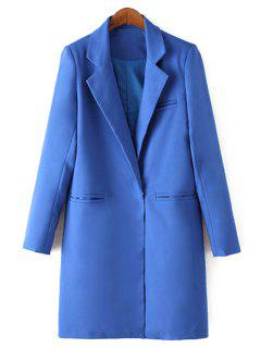 Lapel Solid Color Straight Long Sleeve Blazer - Sapphire Blue S