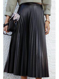 Ruffled PU Leather Black Midi Skirt - Black S