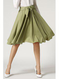High-Waisted Ruffled Midi Skirt - Army Green