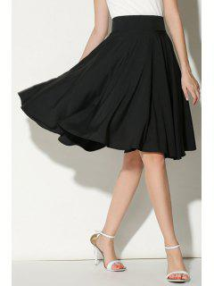 Solid Color Ruffled A-Line Midi Skirt - Black M