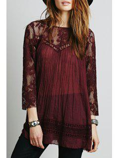 Lace Spliced Scoop Neck 3/4 Sleeve Blouse - Claret Xl
