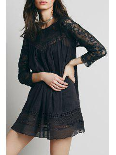 Lace Spliced Scoop Neck 3/4 Sleeve Blouse - Black Xl