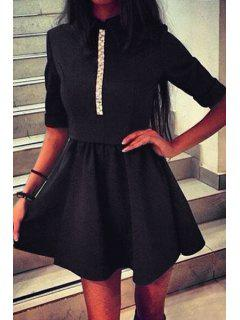 White Lace Splicing 3/4 Sleeve Dress - Black L