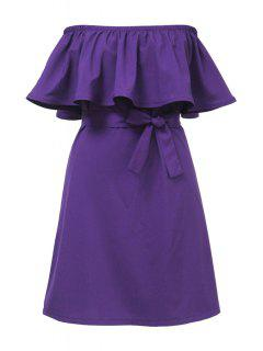 Ruffles Spliced Slash Collar Dress - Purple