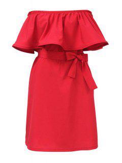 Ruffles Spliced Slash Collar Dress - Red