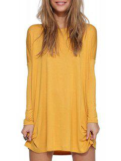 Solid Color Scoop Neck Long Sleeve Dress - Yellow Xl