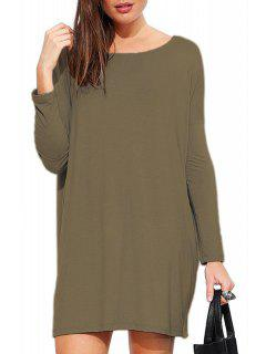 Solid Color Scoop Neck Long Sleeve Dress - Army Green S
