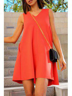 Solid Color Sleeveless Flare Dress - Jacinth Xl