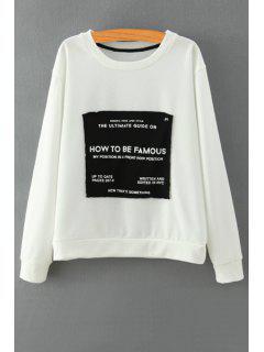 Patch Design Long Sleeve Sweatshirt - White M