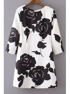 Black Rose Print 3/4 Sleeve Dress - White And Black L