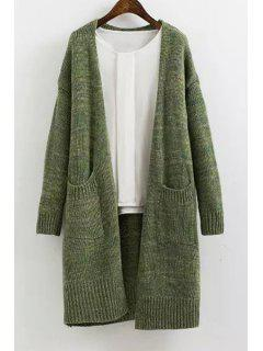Solid Color Long Sleeves Maxi Cardigan - Green