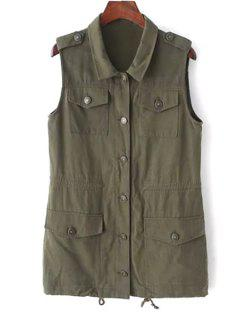 Turn Down Collar Solid Color Waistcoat - Army Green M