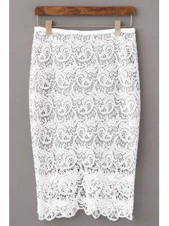 Openwork Lace Hook Pencil Skirt - White Xl
