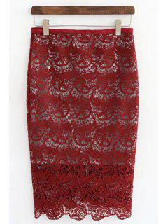 Openwork Lace Hook Pencil Skirt - Red Xl