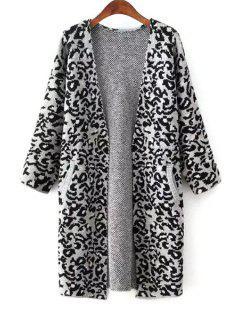 Open Front Leopard Print Long Cardigan - Gray