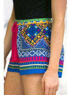 Color Block Plaid Print Shorts - M