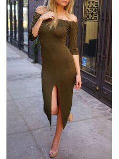 Off-The-Shoulder Front Slit Bodycon Dress - Army Green S