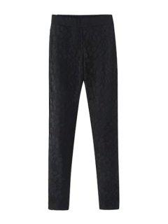 Lace Spliced Narrow Feet Pants - Black S