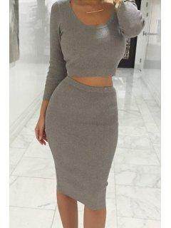 Long Sleeve Crop Top + Solid Color Pencil Skirt Twinset - Light Gray L