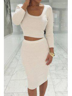 Long Sleeve Crop Top + Solid Color Pencil Skirt Twinset - White S