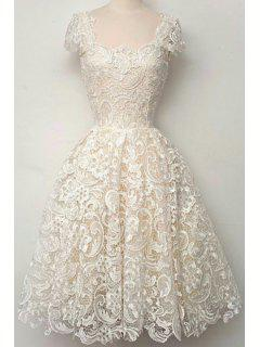 Openwork Lace Hook Ball Gown Dress - White Xl
