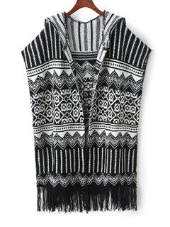 Geometric Pattern Hooded Sleeveless Cardigan - White And Black