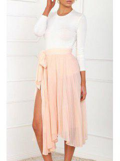 White Long Sleeve T-Shirt + Solid Color Skirt - White M