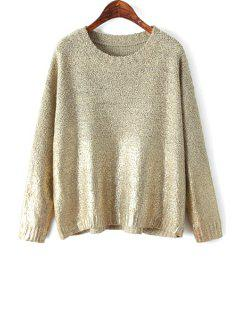 Gilding Solid Color Long Sleeve Sweater - Nude