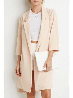 Lapel High Low Trench Coat - Beige Xl