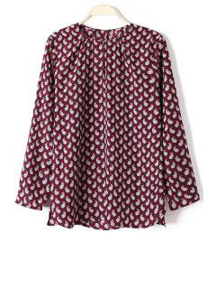 Full Paisley Print Long Sleeve Shirt - Wine Red S