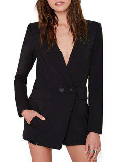 Lapel Deep V Neck Long Sleeve Playsuit - Black Xl