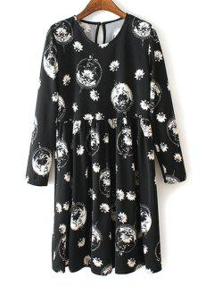 V Neck White Floral Print Long Sleeve Dress - Black Xl