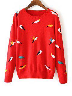 Full Bird Pattern Long Sleeve Jumper - Red M