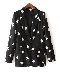 Lapel White Star Print Long Sleeve Blazer - Black L