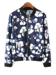 White Floral Print Long Sleeve Jacket - Blue Xl