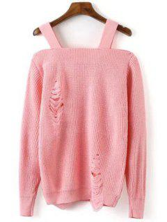 Broken Hole Square Neck Long Sleeve Sweater - Pink