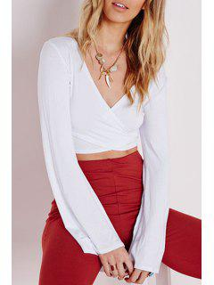 Long Bell Sleeve White Crop Top - White S