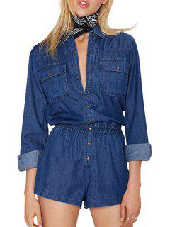 Long Sleeve Single-Breasted Pocket Playsuit - Blue M