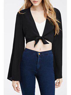 Bell Sleeve Self-Tie Black Crop Top - Black 2xl