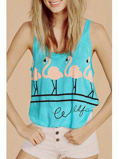 Flamingo Print Loose Tank Top - Blue 2xl