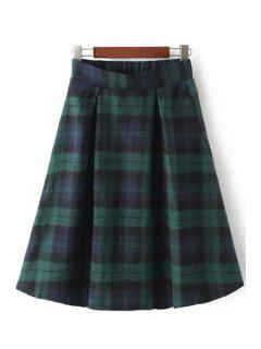 Color Block Checked Skirt - Green M
