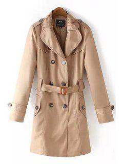 Solid Color Lapel Long Sleeve Trench - Khaki 3xl